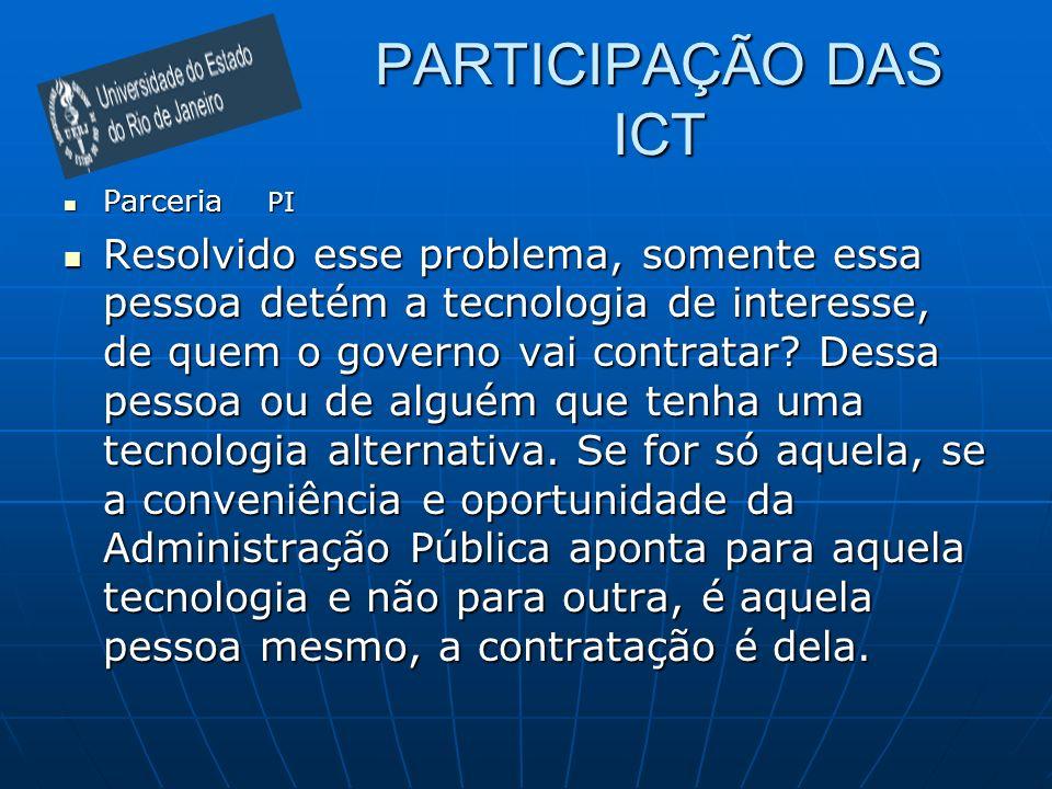PARTICIPAÇÃO DAS ICT Parceria PI.