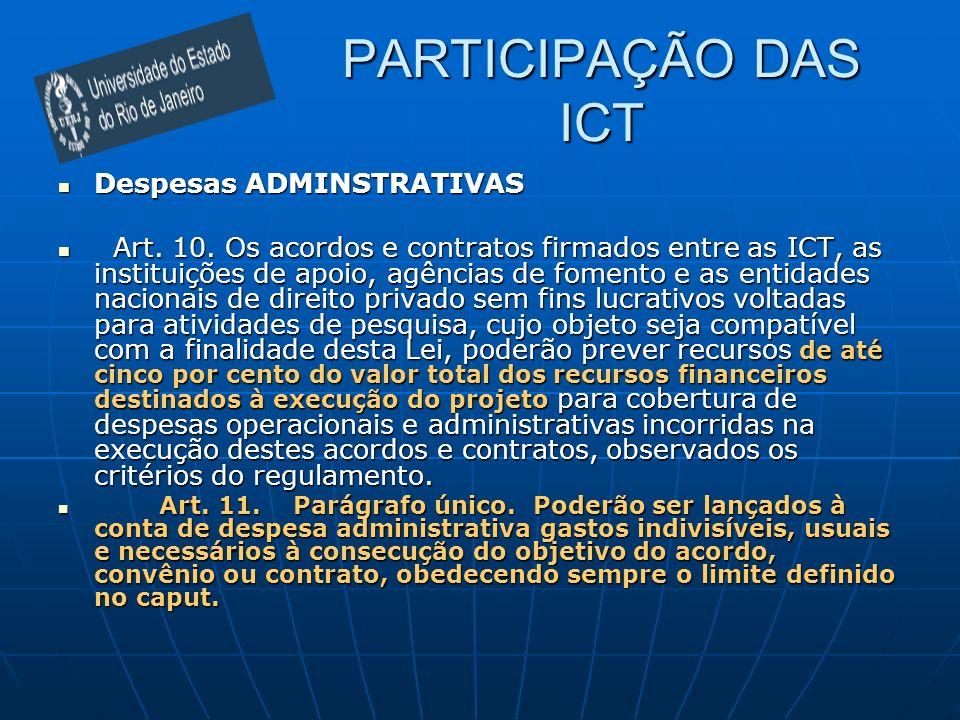 PARTICIPAÇÃO DAS ICT Despesas ADMINSTRATIVAS