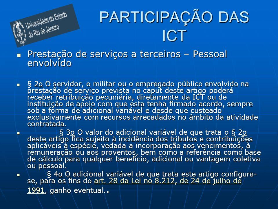 PARTICIPAÇÃO DAS ICT Prestação de serviços a terceiros – Pessoal envolvido.