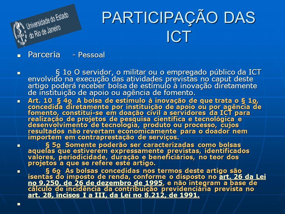 PARTICIPAÇÃO DAS ICT Parceria - Pessoal