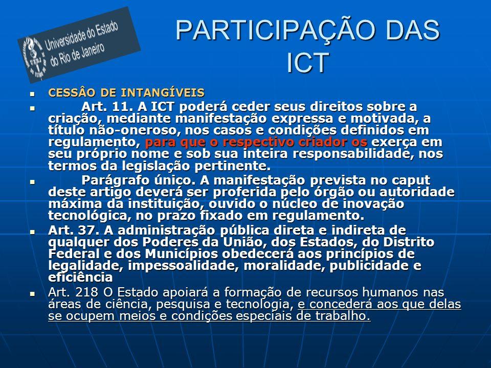 PARTICIPAÇÃO DAS ICT CESSÂO DE INTANGÍVEIS.