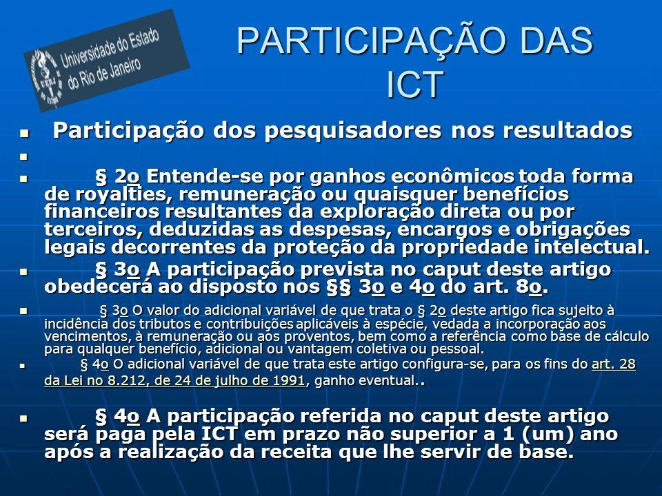 PARTICIPAÇÃO DAS ICT Participação dos pesquisadores nos resultados