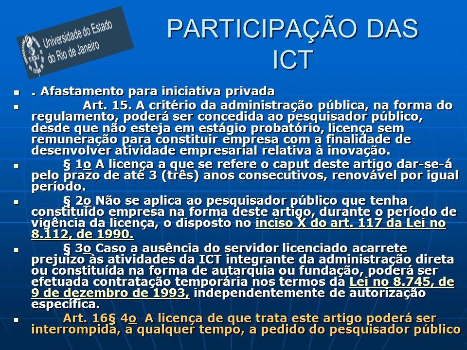PARTICIPAÇÃO DAS ICT . Afastamento para iniciativa privada