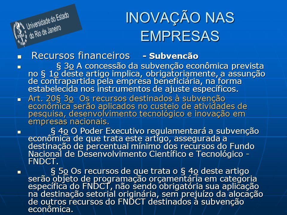 INOVAÇÃO NAS EMPRESAS Recursos financeiros - Subvencão