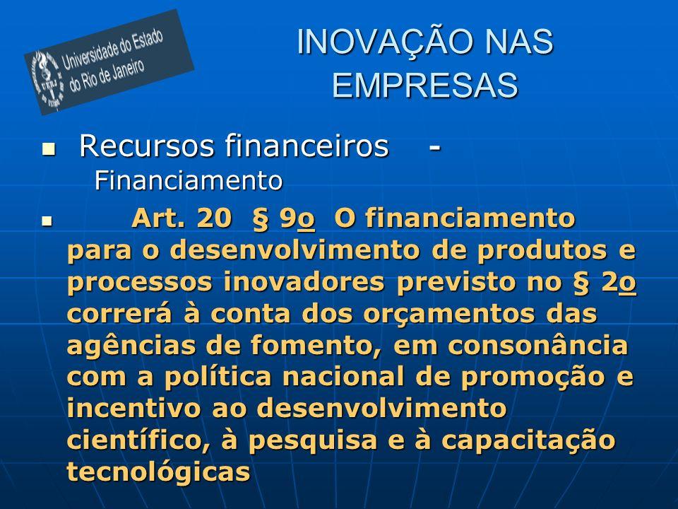 Recursos financeiros - Financiamento