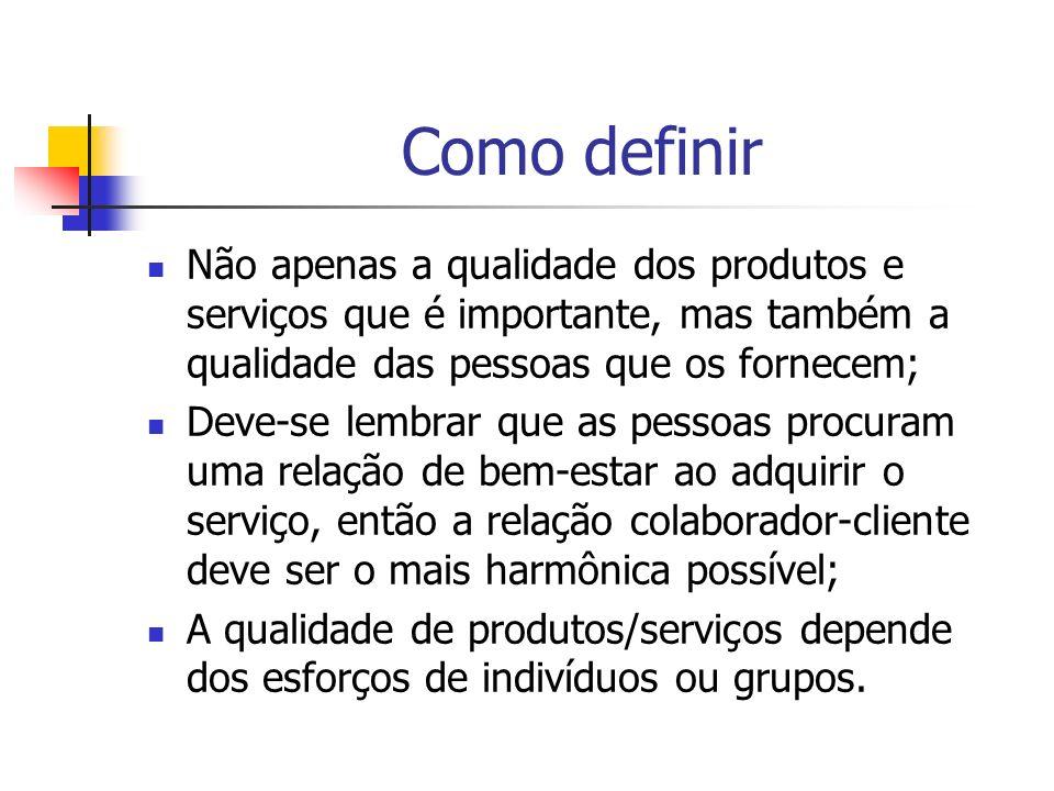 Como definirNão apenas a qualidade dos produtos e serviços que é importante, mas também a qualidade das pessoas que os fornecem;