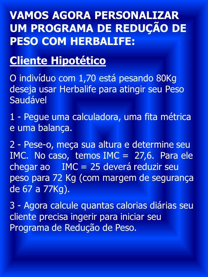 VAMOS AGORA PERSONALIZAR UM PROGRAMA DE REDUÇÃO DE PESO COM HERBALIFE: