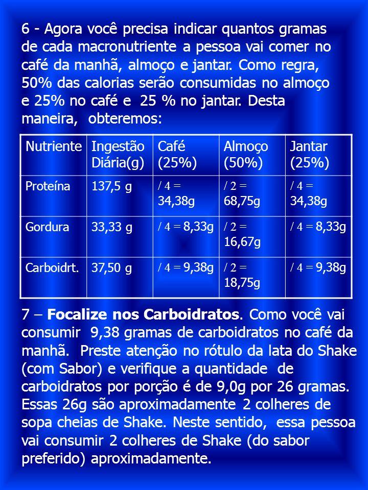 6 - Agora você precisa indicar quantos gramas de cada macronutriente a pessoa vai comer no café da manhã, almoço e jantar. Como regra, 50% das calorias serão consumidas no almoço e 25% no café e 25 % no jantar. Desta maneira, obteremos: