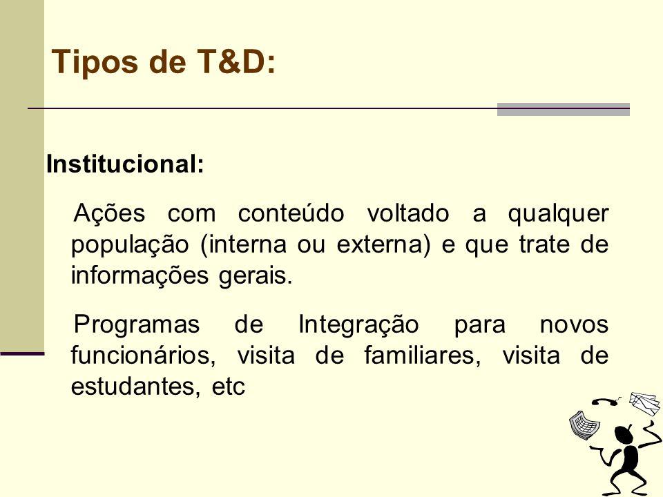 Tipos de T&D: Institucional: