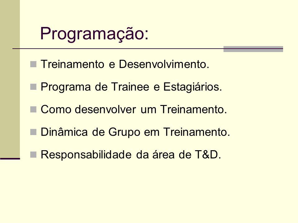 Programação: Treinamento e Desenvolvimento.