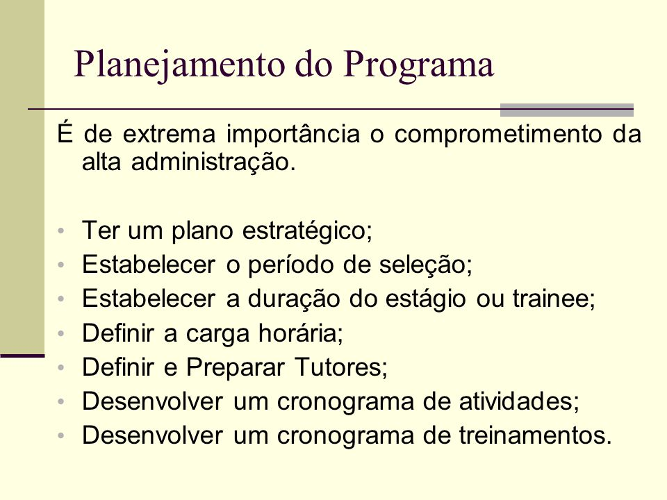 Planejamento do Programa