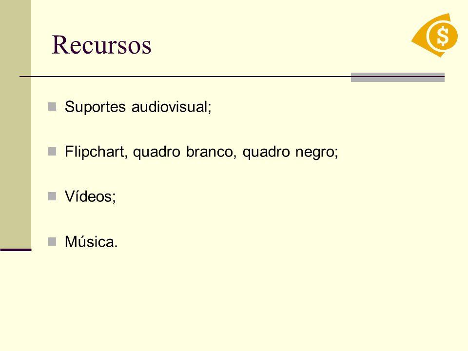 Recursos Suportes audiovisual; Flipchart, quadro branco, quadro negro;