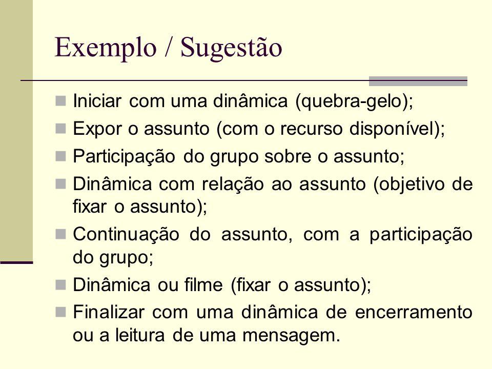 Exemplo / Sugestão Iniciar com uma dinâmica (quebra-gelo);