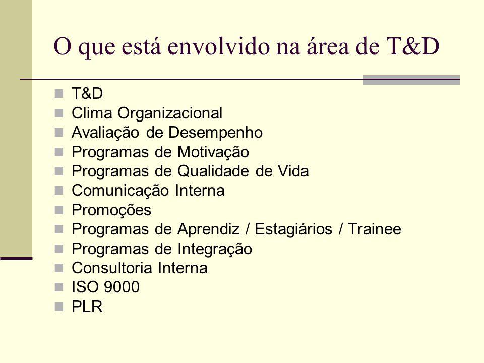 O que está envolvido na área de T&D