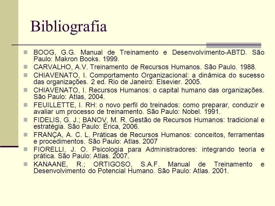 Bibliografia BOOG, G.G. Manual de Treinamento e Desenvolvimento-ABTD. São Paulo: Makron Books. 1999.