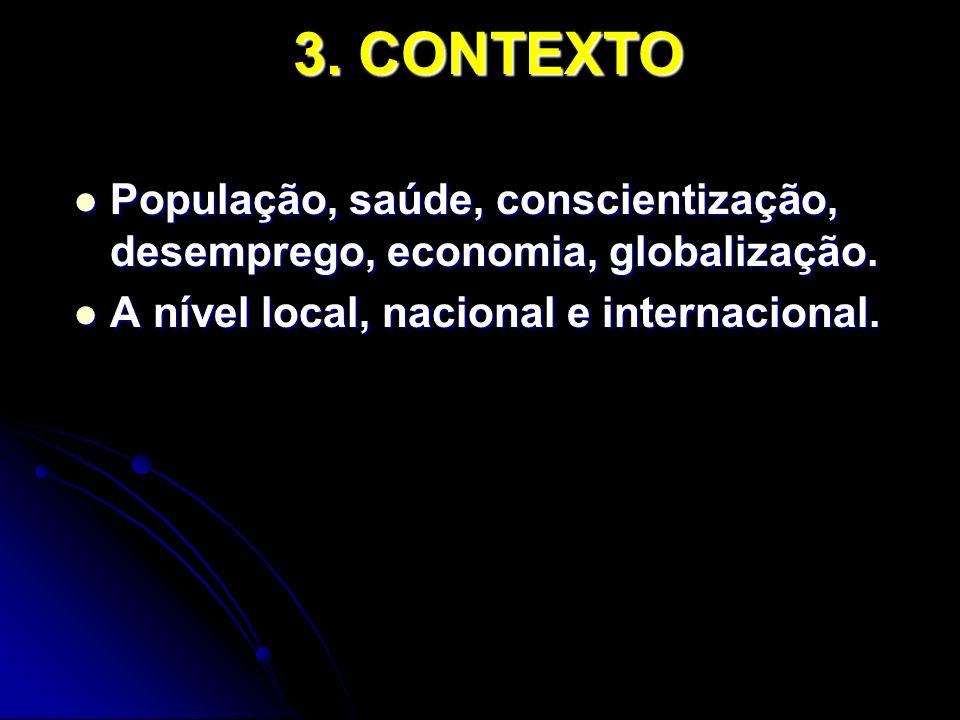 3. CONTEXTO População, saúde, conscientização, desemprego, economia, globalização.