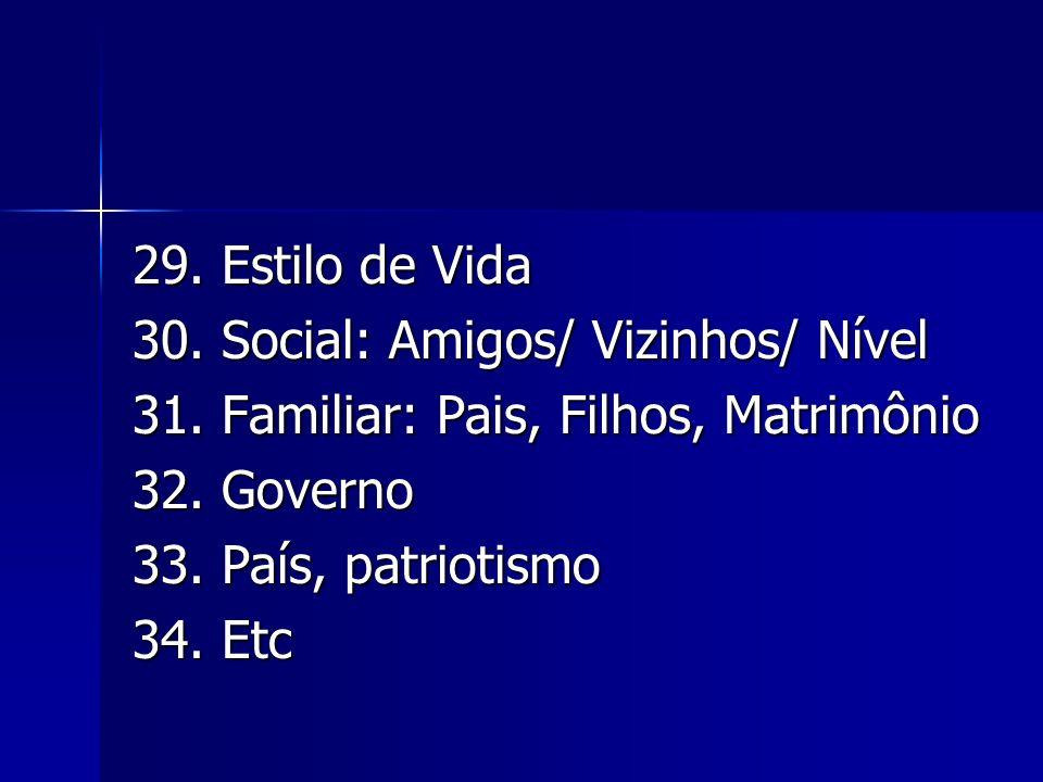 29. Estilo de Vida 30. Social: Amigos/ Vizinhos/ Nível. 31. Familiar: Pais, Filhos, Matrimônio. 32. Governo.