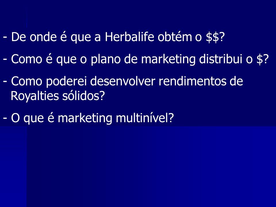 - De onde é que a Herbalife obtém o $$