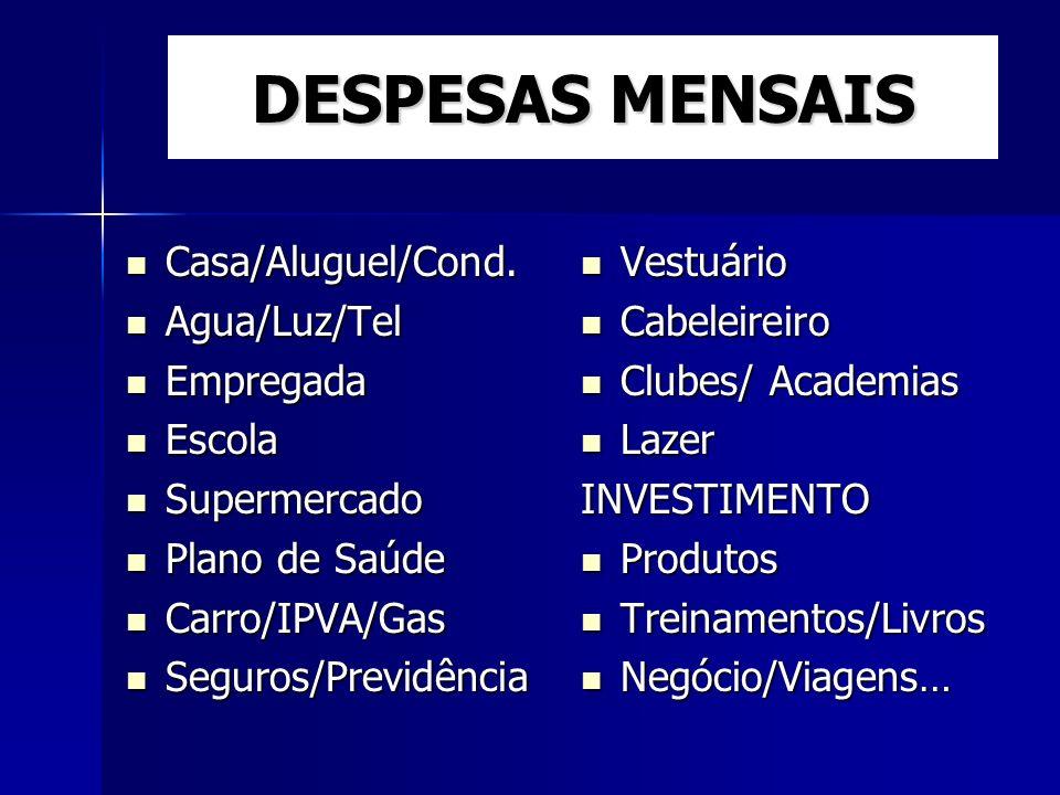 DESPESAS MENSAIS Casa/Aluguel/Cond. Agua/Luz/Tel Empregada Escola