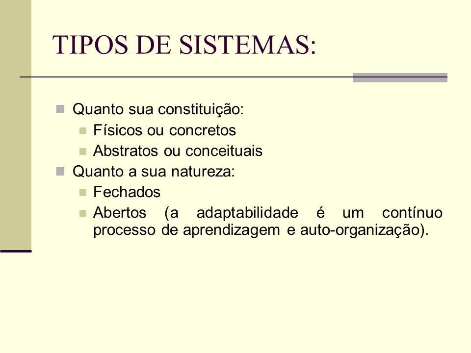 TIPOS DE SISTEMAS: Quanto sua constituição: Físicos ou concretos