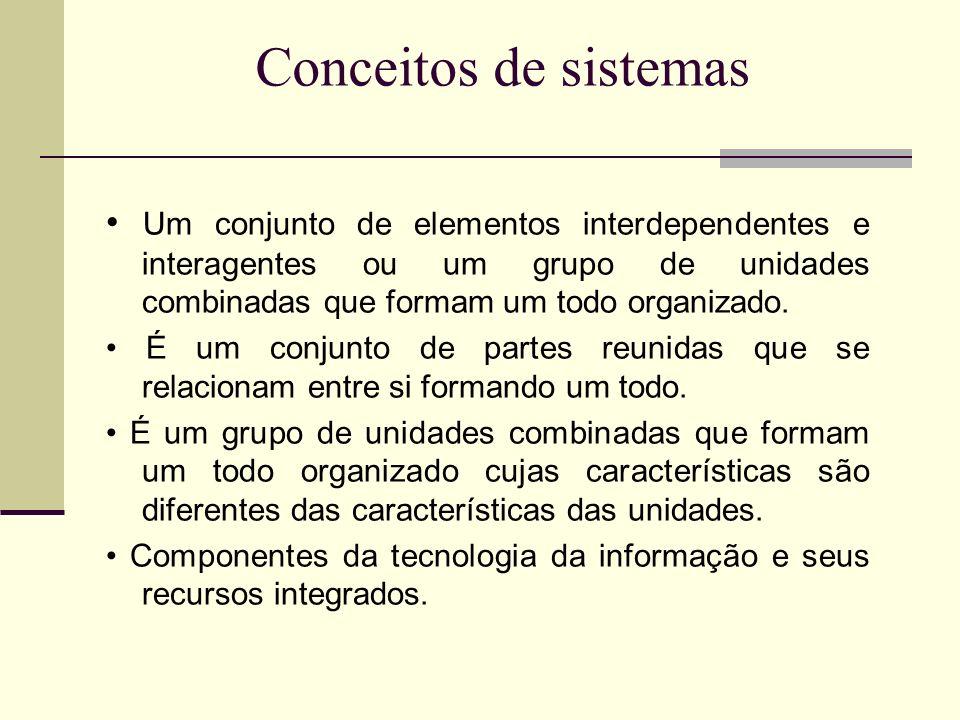 Conceitos de sistemas • Um conjunto de elementos interdependentes e interagentes ou um grupo de unidades combinadas que formam um todo organizado.