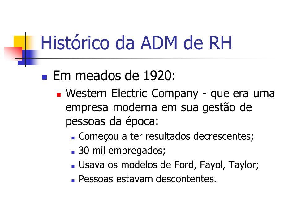 Histórico da ADM de RH Em meados de 1920: