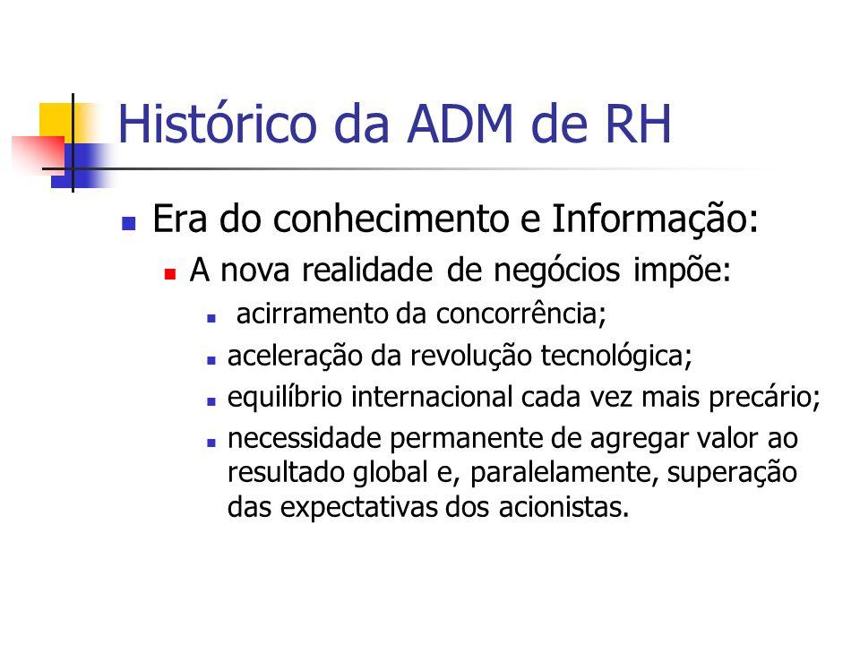 Histórico da ADM de RH Era do conhecimento e Informação: