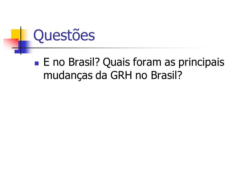 Questões E no Brasil Quais foram as principais mudanças da GRH no Brasil