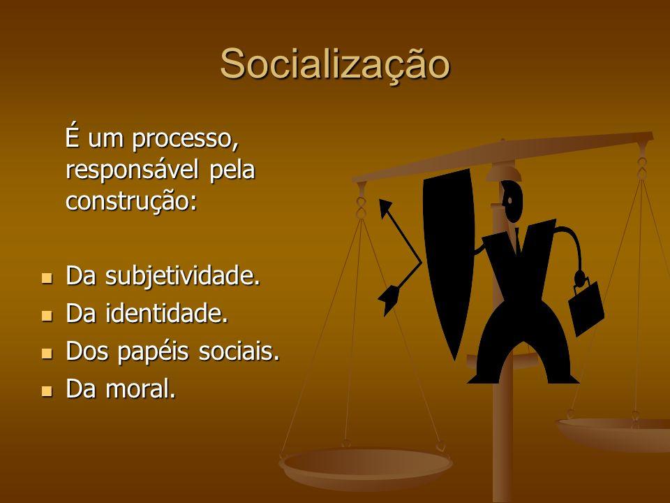 Socialização É um processo, responsável pela construção: