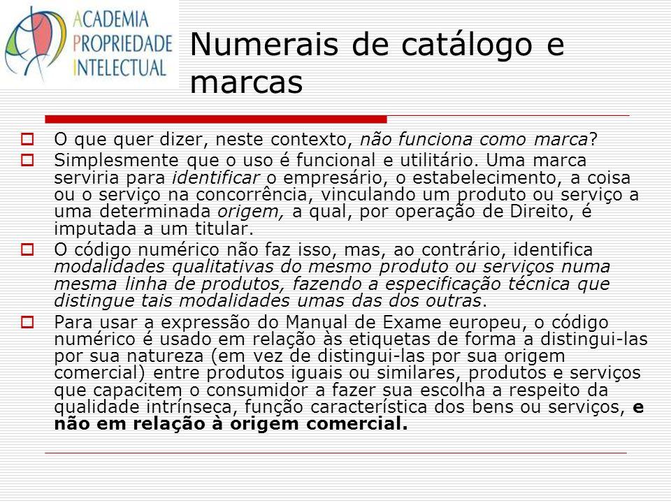 Numerais de catálogo e marcas
