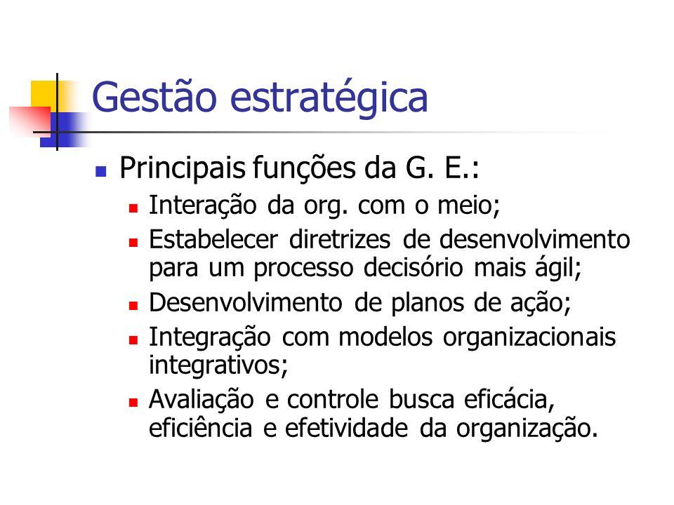 Gestão estratégica Principais funções da G. E.:
