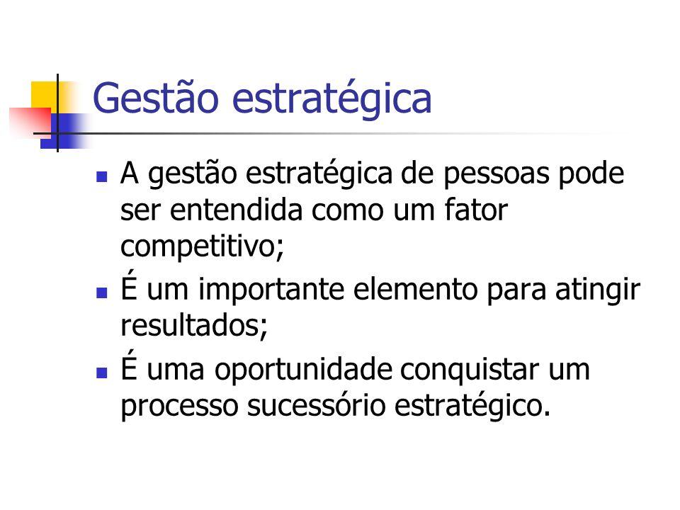 Gestão estratégicaA gestão estratégica de pessoas pode ser entendida como um fator competitivo; É um importante elemento para atingir resultados;