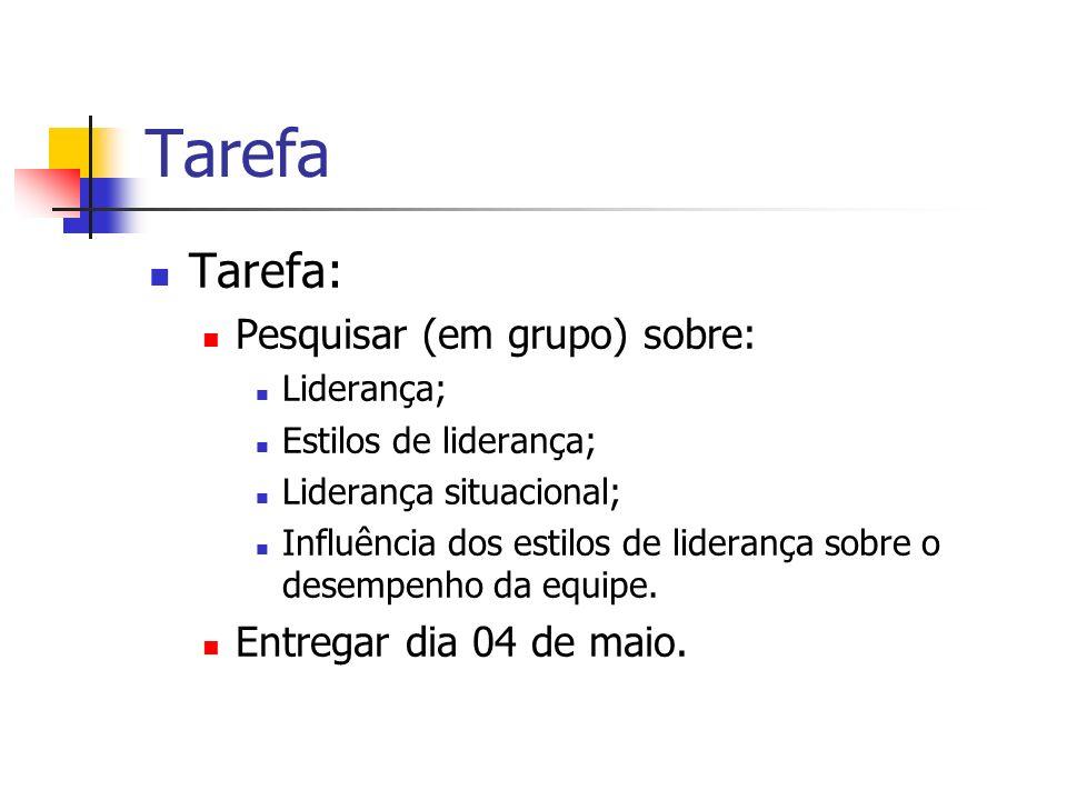 Tarefa Tarefa: Pesquisar (em grupo) sobre: Entregar dia 04 de maio.