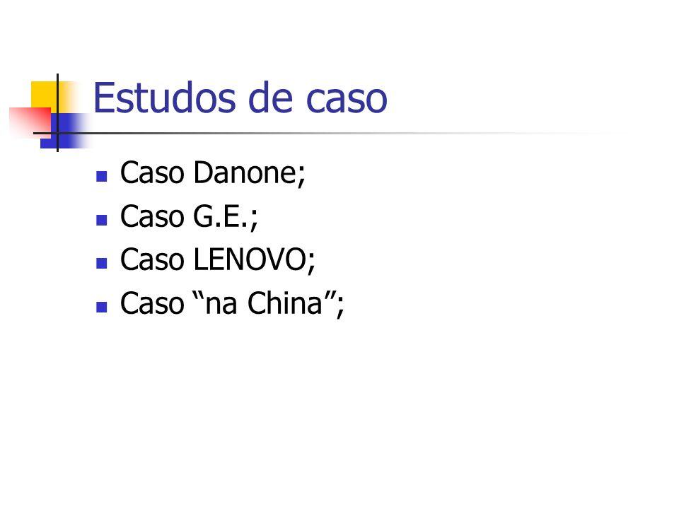Estudos de caso Caso Danone; Caso G.E.; Caso LENOVO; Caso na China ;
