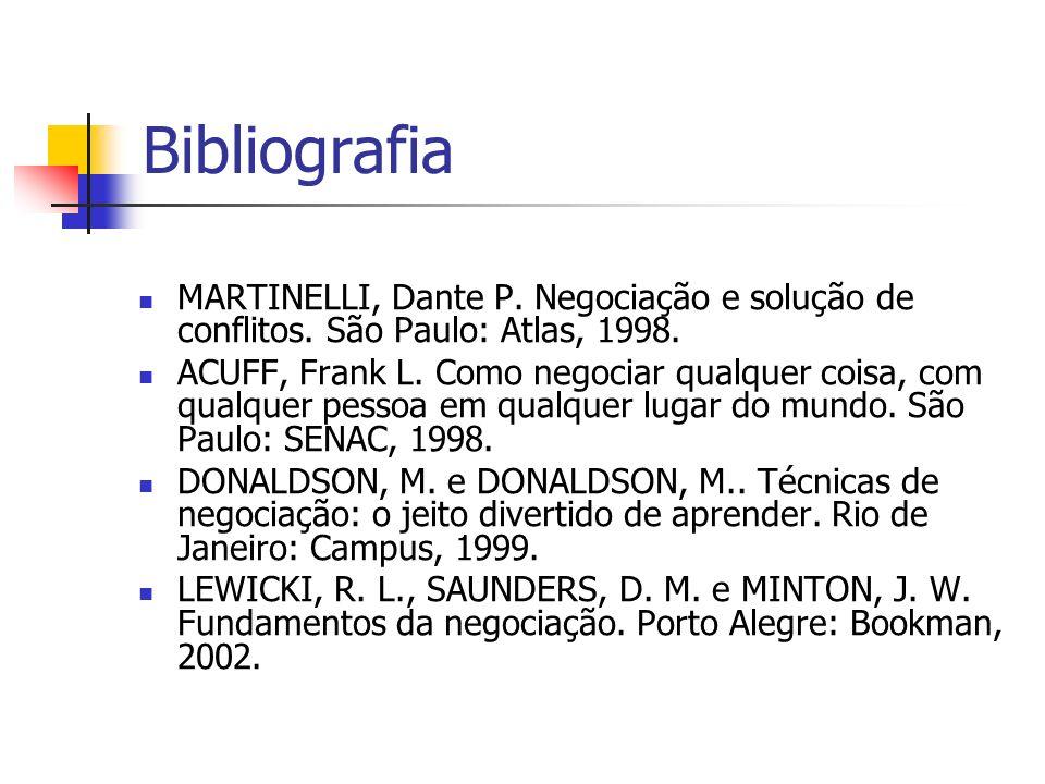 Bibliografia MARTINELLI, Dante P. Negociação e solução de conflitos. São Paulo: Atlas, 1998.