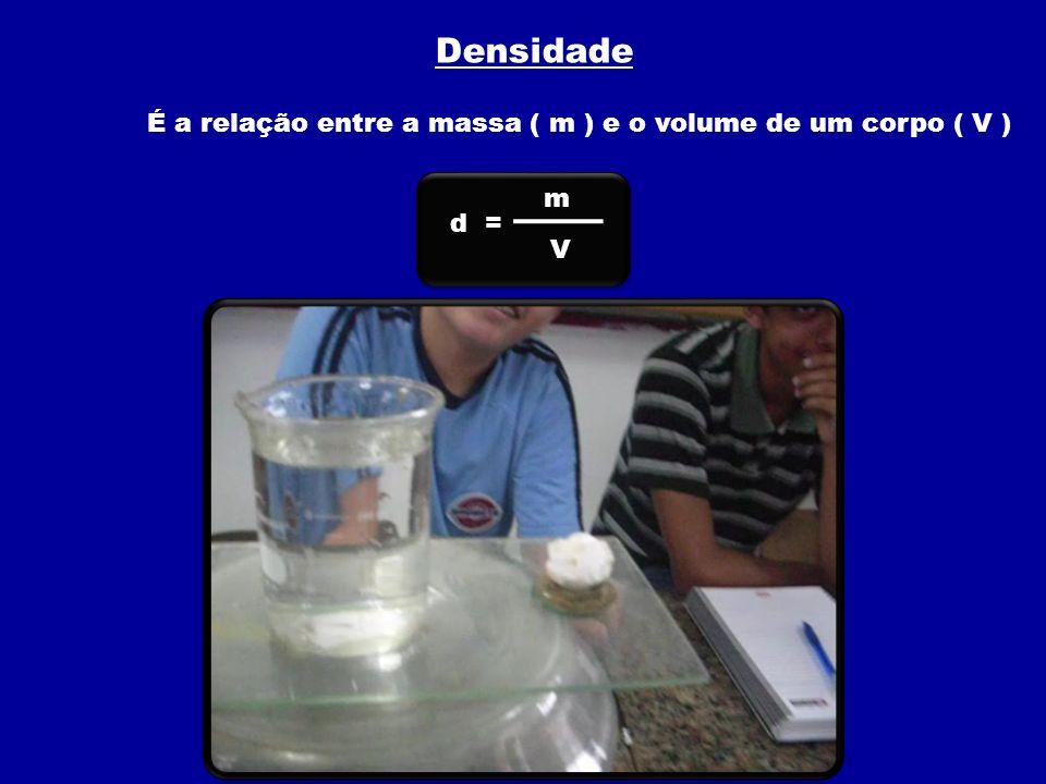 É a relação entre a massa ( m ) e o volume de um corpo ( V )