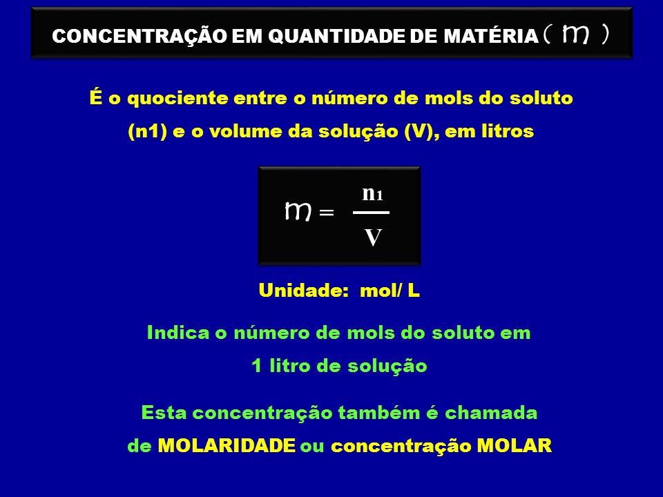 m n1 = V CONCENTRAÇÃO EM QUANTIDADE DE MATÉRIA ( m )