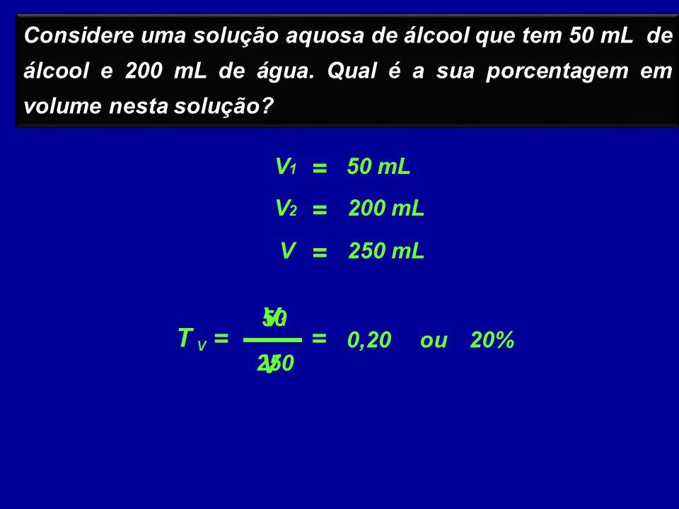 Considere uma solução aquosa de álcool que tem 50 mL de álcool e 200 mL de água. Qual é a sua porcentagem em volume nesta solução