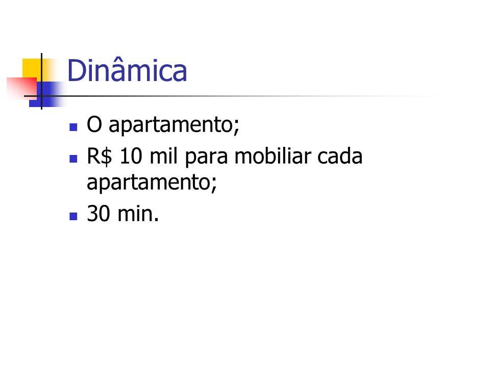 Dinâmica O apartamento; R$ 10 mil para mobiliar cada apartamento;
