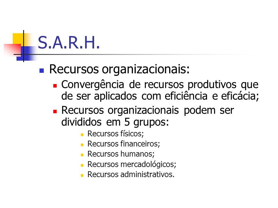 S.A.R.H. Recursos organizacionais:
