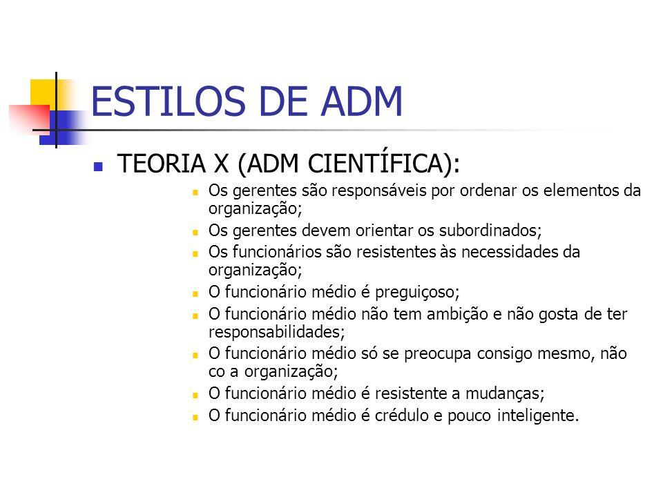 ESTILOS DE ADM TEORIA X (ADM CIENTÍFICA):
