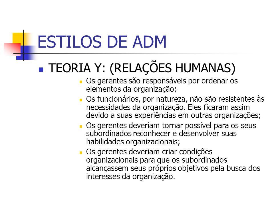 ESTILOS DE ADM TEORIA Y: (RELAÇÕES HUMANAS)