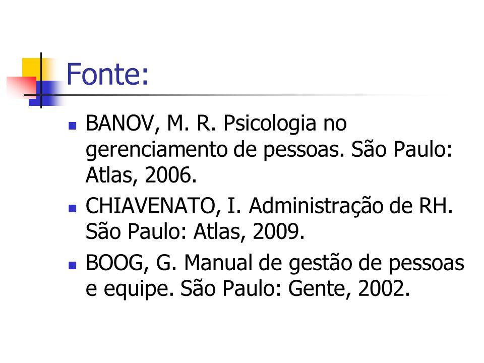 Fonte:BANOV, M. R. Psicologia no gerenciamento de pessoas. São Paulo: Atlas, 2006. CHIAVENATO, I. Administração de RH. São Paulo: Atlas, 2009.