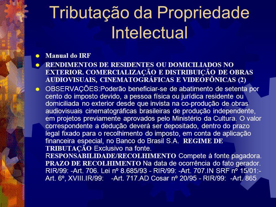 Tributação da Propriedade Intelectual