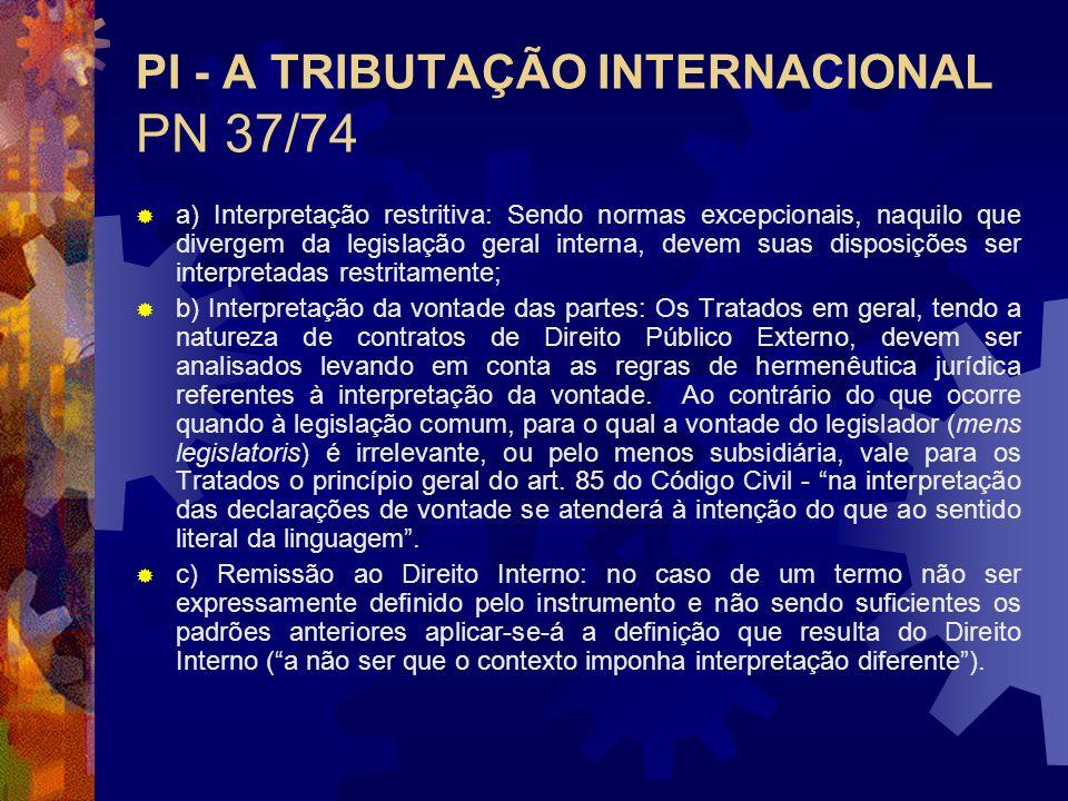 PI - A TRIBUTAÇÃO INTERNACIONAL PN 37/74