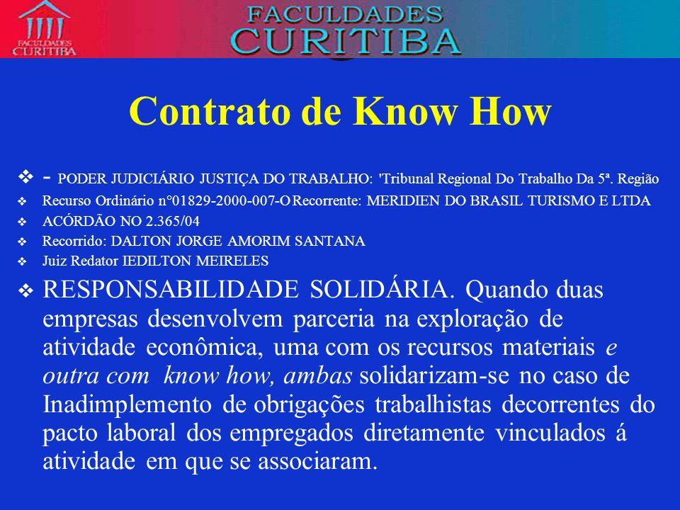 Contrato de Know How- PODER JUDICIÁRIO JUSTIÇA DO TRABALHO: Tribunal Regional Do Trabalho Da 5ª. Região.