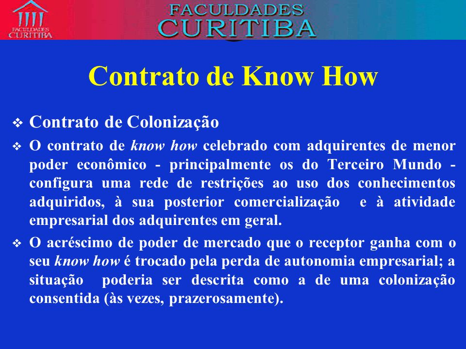 Contrato de Know How Contrato de Colonização