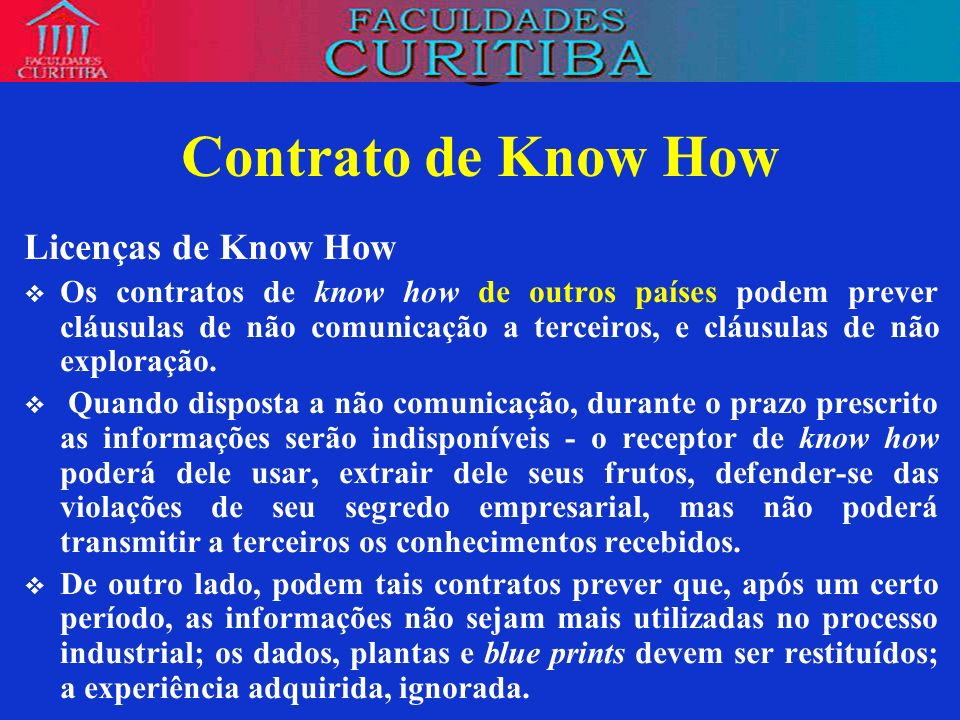 Contrato de Know How Licenças de Know How