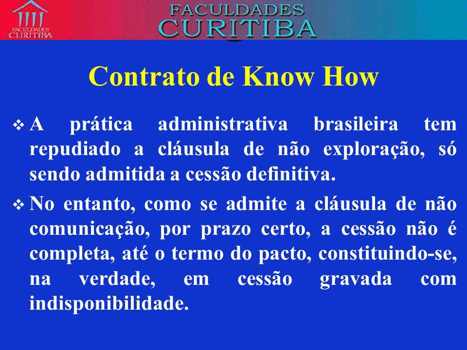 Contrato de Know HowA prática administrativa brasileira tem repudiado a cláusula de não exploração, só sendo admitida a cessão definitiva.