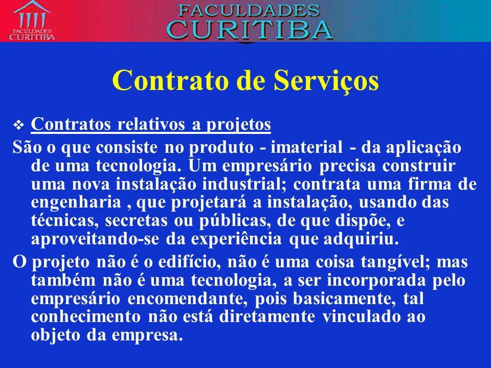 Contrato de Serviços Contratos relativos a projetos